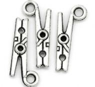10 x Antique Silver Clothes Peg Charm Pendants
